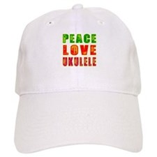 Peace Love Ukulele Baseball Cap