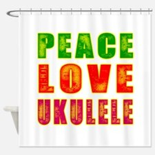 Peace Love Ukulele Shower Curtain