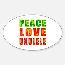 Peace Love Ukulele Sticker (Oval)