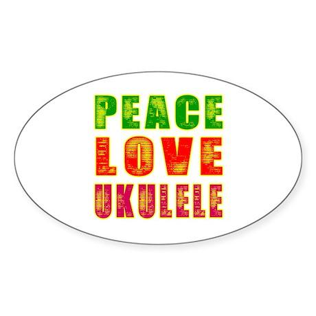 Peace Love Ukulele Sticker (Oval 10 pk)