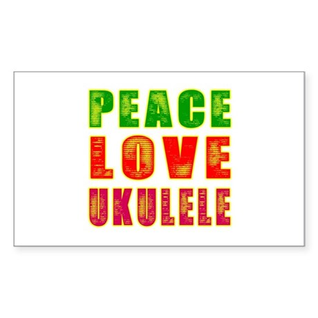 Peace Love Ukulele Sticker (Rectangle 10 pk)