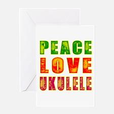Peace Love Ukulele Greeting Card