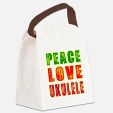 Peace Love Ukulele Canvas Lunch Bag