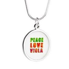 Peace Love Viola Silver Round Necklace