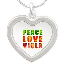 Peace Love Viola Silver Heart Necklace