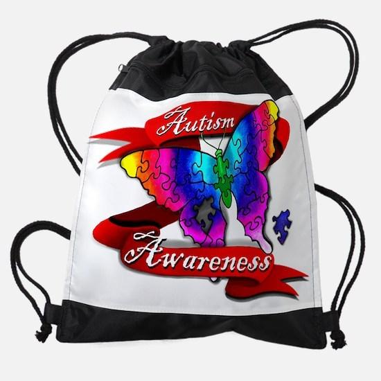 Autism Awareness Butterfly Design Drawstring Bag
