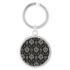 Black & Cream Damask Round Keychain