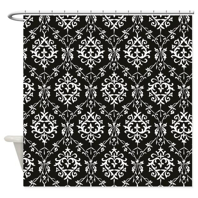 Black Damask Shower Curtains   Black Damask Fabric Shower Curtain ...