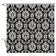 Black & Cream Damask Shower Curtain