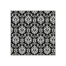 """Black & Cream Damask Square Sticker 3"""" x 3"""""""
