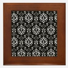 Black & Cream Damask Framed Tile