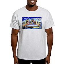 Medford Oregon Greetings (Front) Ash Grey T-Shirt