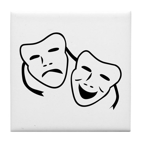 Comedy u0026 Tragedy Mask Tile Coaster by symbolsonstuff