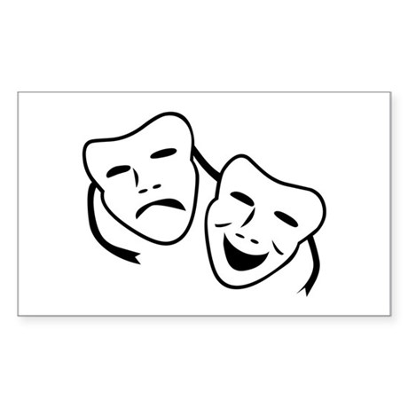 Comedy & Tragedy Mask Rectangle Sticker
