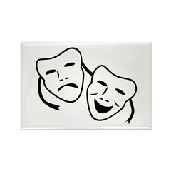 Comedy & Tragedy Mask Rectangle Magnet (10 pack)