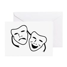 Comedy & Tragedy Mask Greeting Cards (Pk of 10