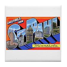St Paul Minnesota Greetings Tile Coaster