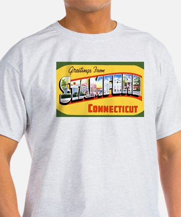 Stamford Connecticut Greetings (Front) Ash Grey T-