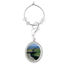 Dry Stone Wall and Bay Oval Wine Charm