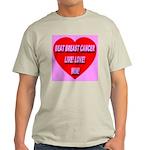 Beat Breast Cancer Live! Love Ash Grey T-Shirt
