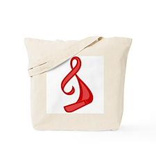 """Red Ribbon Twist"" Tote Bag"