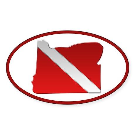 """""""Oregon Diver Flag"""" Oval Sticker"""