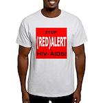 RED ALERT STOP HIV-AIDS Ash Grey T-Shirt