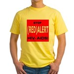 RED ALERT STOP HIV-AIDS Yellow T-Shirt