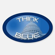 THINK BLUE Oval Decal