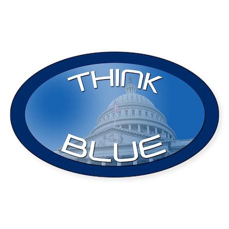 THINK BLUE Oval Sticker