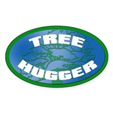 TREE HUGGER Oval Decal