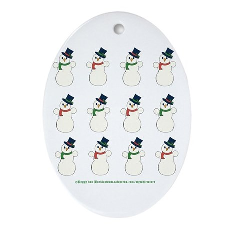 Snowman Cluster Oval Ornament