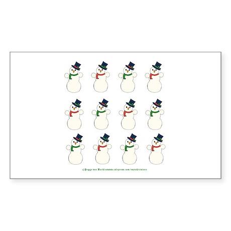 Snowman Cluster Rectangle Sticker