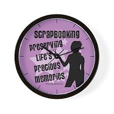 Scrapbooking... Memories - Purple Wall Clock