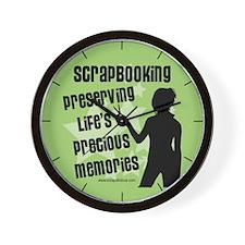 Scrapbooking ...Memories - Green Wall Clock