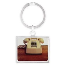 Telephone on desk (grainy) Landscape Keychain