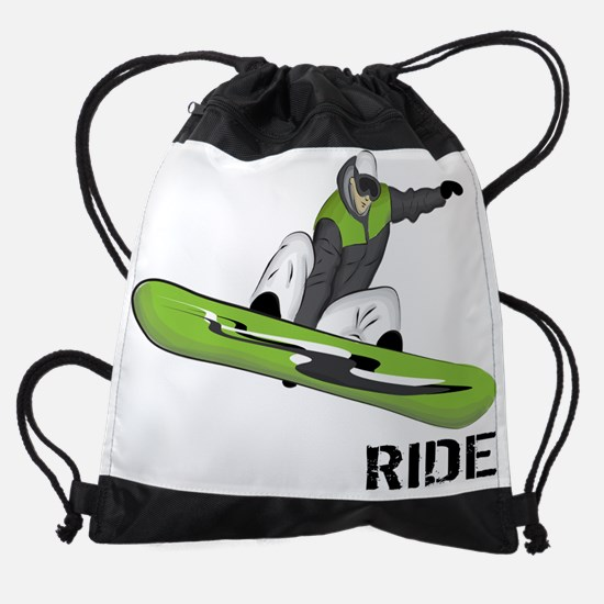 SnowboarderBack.png Drawstring Bag