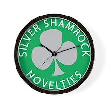 Silver Shamrock Wall Clock