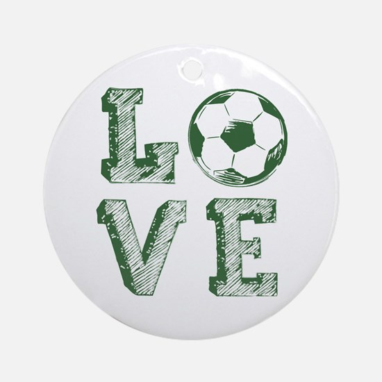 Love Soccer Round Ornament