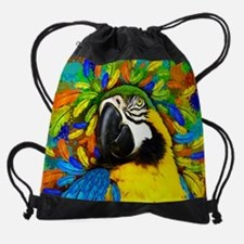 Gold and Blue Macaw Parrot Fantasy Drawstring Bag