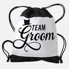 Team Groom with hat Drawstring Bag