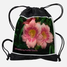 Daylily Strawberry Fields Forever Drawstring Bag