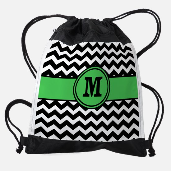 Black Green Chevron Monogram Drawstring Bag