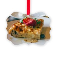 Close up of bread pudding Picture Ornament