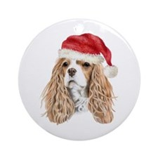 Christmas Cavalier king Charl Ornament (Round)