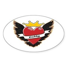 Daddy Heart Tattoo Oval Decal