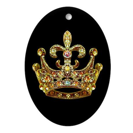 Fleur de lis Crown Jewels Oval Ornament by artegrity
