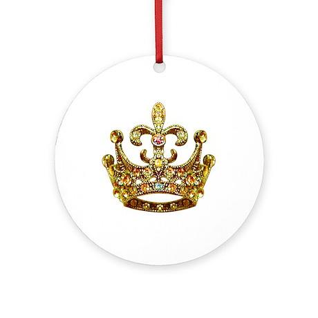 Fleur de lis Crown Jewels Ornament (Round) by artegrity