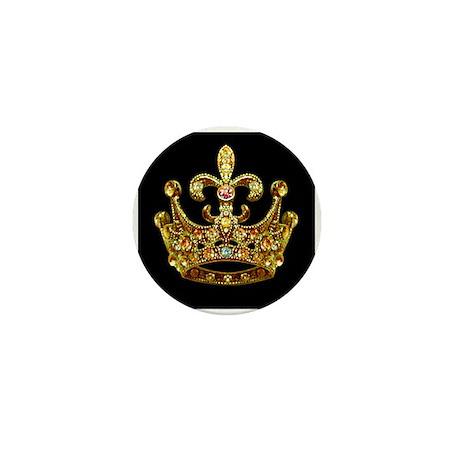 Fleur de lis Crown Jewels Mini Button by artegrity