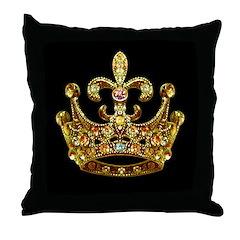 Fleur de lis Crown Jewels Throw Pillow